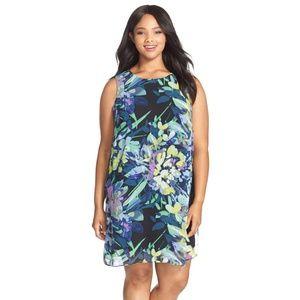 Vince Camuto Blue Floral Print Chiffon Dress